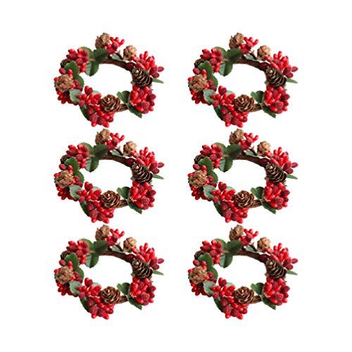 Amosfun 6 Stück Kerzenring Weihnachtsschmuck Teelicht Ring Serviettenringe Home Party Halloween Weihnachten Hochzeit, plastik, Picture 2, Größe 1