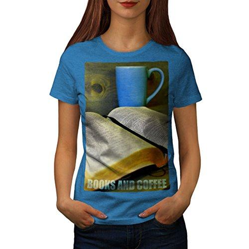 wellcoda Buch Kaffee Studie Essen Frau T-Shirt lesen Lässiges Design Bedrucktes T-Shirt