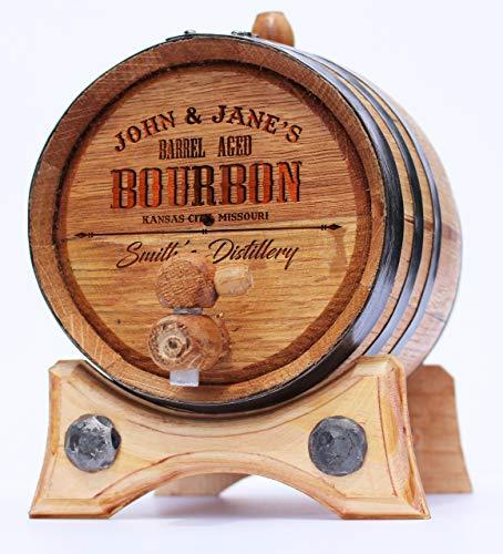 Personalized - Custom Engraved Premium Handcrafted American Oak Aging Barrel - Age your own Whiskey, Beer, Wine, Bourbon, Tequila, Rum ((1 Liter, Black Steel Hoops)