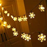AMARS Snowflake Fairy String Lights Battery Operated 19.7ft 40 LED Snowflake Decorative Lights for Bedroom Living Room Home Garden Indoor Outdoor Decoration (Warm White)