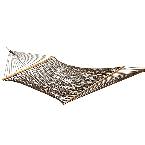 Original Pawleys Island 13DCAB Large Antique Brown DuracordRope Hammock with Extension Chains & Tree Hooks, Handcrafted in The USA, Accommodates 2 People, 450 LB Weight Capacity, 13 ft. x 55 in.