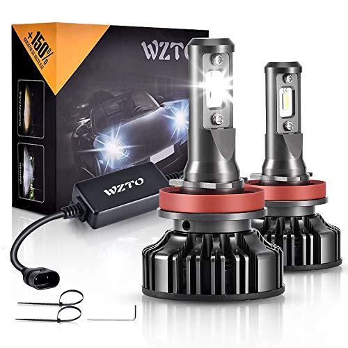 H11/H9/H8 LED, WZTO 12000LM Bombilla H11/H9/H8 led Coche Faros Delanteros 70W 6000K Bombilla Kit IP67 Impermeable - Garantía de 2 Años