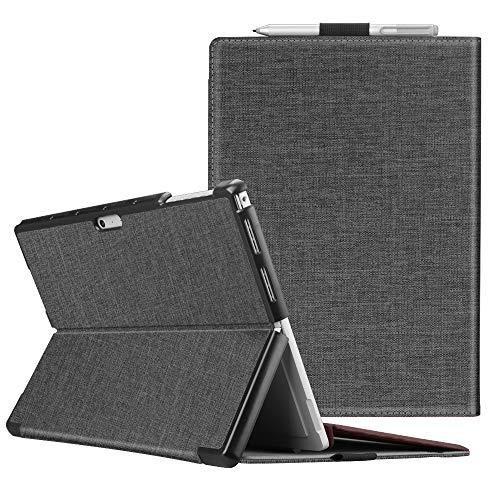 Fintie Schutzhülle für Surface Pro 7 / Pro 6 / Pro 5 - Business Hülle mit Harter Schale, anpassbarer Betrachtungswinkel, kompatibel mit der Type Cover Tastatur, Stoff dunkelgrau
