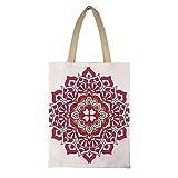 DKISEE - Bolso de mano de lona reutilizable con diseño de mandala floral, ecológico, estilo bohemio, estampado, lona, # 25, 15'x17.7'