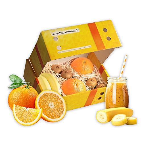Obstbox Smoothie Golden-Jewel mit frischem Obst und Rezept für gesunde orangene Smoothies in klassischer Geschenkbox