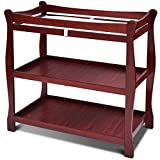 Costzon Baby Changing Table, Infant Diaper Changing Table Organization, Newborn Nursery Station with Pad, Sleigh Style Nursery Dresser Changing Table with Hamper/ 2 Fixed Shelves (Wine)