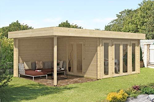 CARLSSON Alpholz Gartenhaus Corsica 44 aus Massiv-Holz | Gerätehaus mit 44 mm Wandstärke | Garten Holzhaus inklusive Montagematerial | Geräteschuppen Größe: 380 x 650 cm | Flachdach