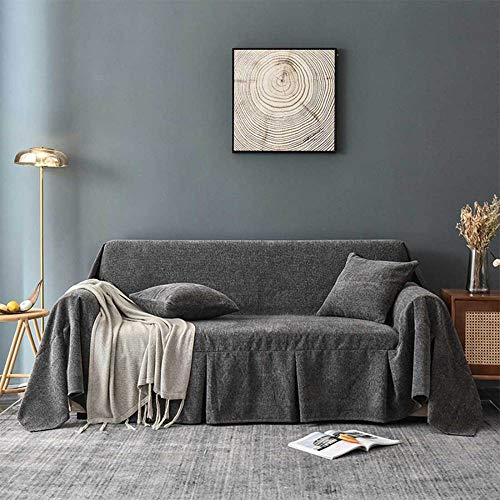 YSODFQL Sofá de felpilla gruesa toalla cubierta de sofá alfombra de tela antideslizante Cuatro estaciones cubierta de polvo de sofá aplicable todo incluido elástica adaptable/Drak