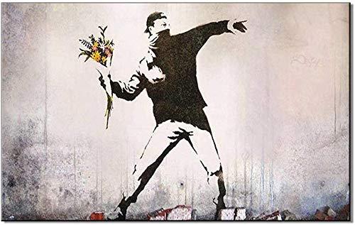 Banksy Street Artwork Auf Leinwand Wandkunst Rage Den Blumenwerfer Moderne Pop Wandbilder Gemälde Graue Street Art Frameless Leinwand Malerei Für Hauptdekor-Bildplakat,60x80cm(24x31inch)