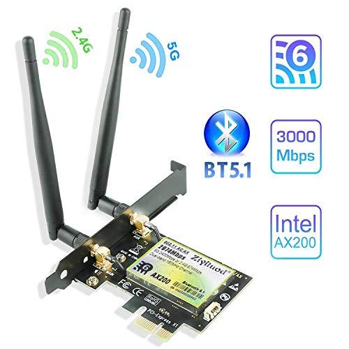 Ziyituod WiFi 6 AX200 Bluetooth 5.1 PCIe WLAN Karte | Bis zu 2402 Mbit/s | Intel WiFi 6 AX200 Chip | 5 GHz / 2,4 GHz WiFi-Netzwerkkarte mit MU-MIMO, OFDMA | Nur für Windows 10 64bit(ZYT-AX200)