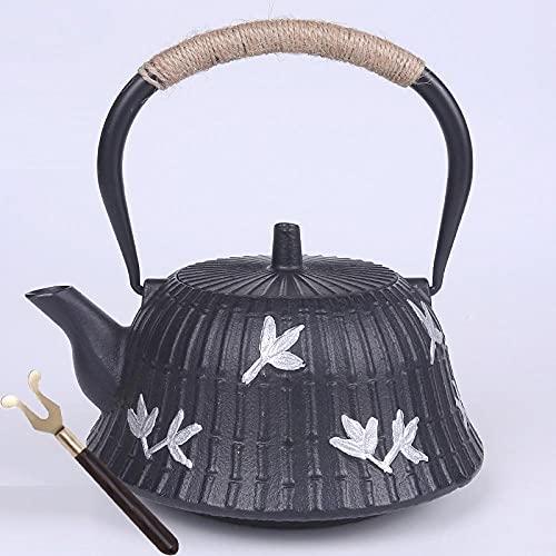 Pote de hierro fundido Rosa sin recubrimiento Sur Japón de hierro de hierro Juego de té de kung Fu con tenedor gratis-Ve la tabla