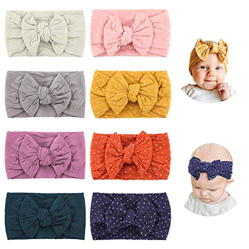 Makone Baby Stirnband, Stretchy Dot Haarband mit Bögen Pom Pom Bun 5,5 Zoll Big Hair Bow Stirnband für Säuglingsbabys - Mehrfarbig, 8er Pack