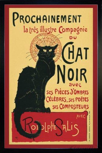 Close Up Le Chat Noir Poster (66x96,5 cm) gerahmt in: Rahmen schwarz