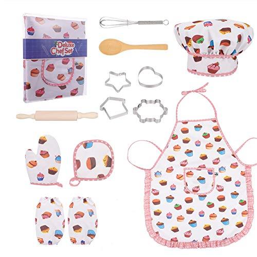Bestomrogh Juego de 13 piezas para cocinar y hornear para niños, incluye guante y utensilio, el mejor regalo para niños de 3 a 10 años