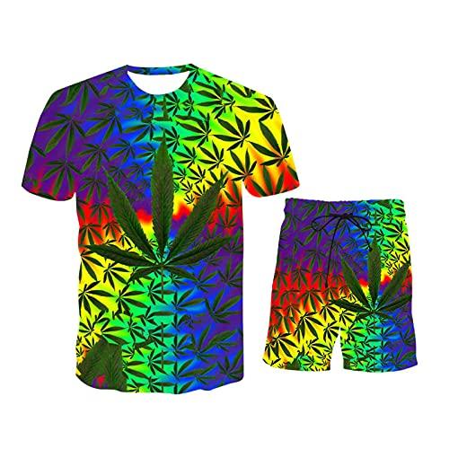 Men Sets Fashion Casual 2-Piece Set Short Sleeves and Shorts 3D Hawaiian Printing Beach Male Suit 2021-TK256-XXXL