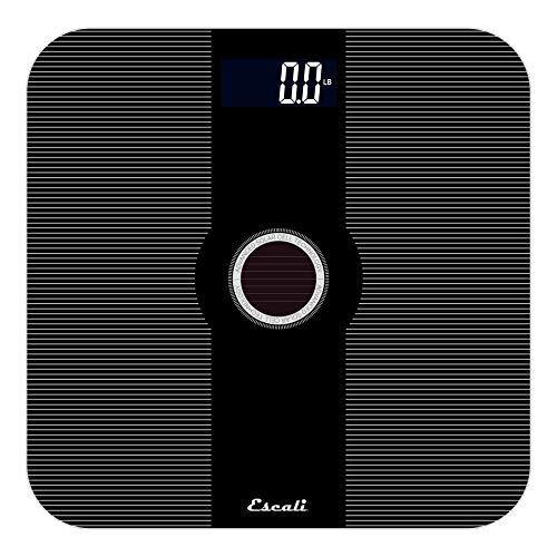Escali Solar Powered/USB Bathroom Scale, Black, 400 Pound Capacity, 0.0353 Ounce