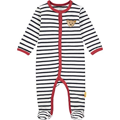 Steiff Baby-Mädchen mit süßer Teddybärapplikation Strampler, Navy, 080