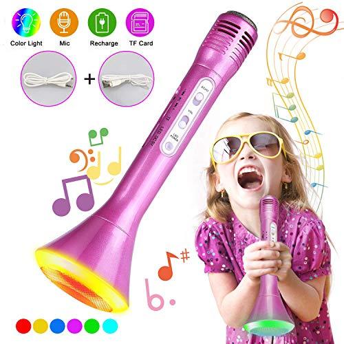 Micrfono Karaoke Bluetooth, Tencoz Micrfono inalmbrico de karaoke porttil Micrfono Karaoke para nios y nias Micrfono karaoke para partido KTV Compatible con Android/iOS(Rosa)