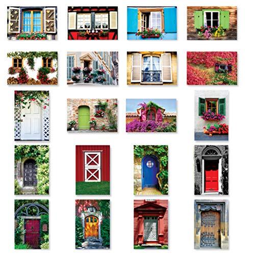 Türen und Windows-Postkarten-Set 20Stück. Post Karte Variety Pack mit Tür und Fenster Thema Postkarten. Hergestellt in den USA.