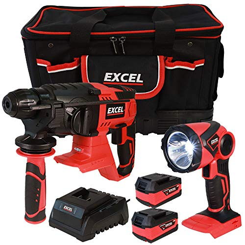 Excel 18V Power Tool Cordless Twin Pack SDS Plus Rotary Hammer and Torch with 2 x 5.0Ah Batteries & Charger in Bag EXL5107