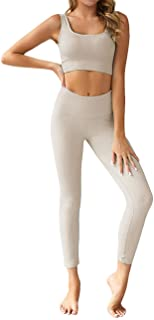 Menore Yoga Outfits Workout Sets for Women Seamless Yoga Sports Tracksuits Bra and Leggings Set 2 Piece