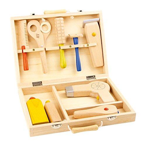 Small Foot 5845 malette de coiffure, jouets en bois, jeu complet d'accessoires, peigne, sèche-cheveux, rasoir et bien plus encore