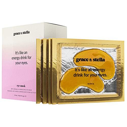 Parches debajo de ojos Grace & Stella para círculos oscuros e hinchazón - Veganos - Parches dorados de gel debajo de la máscara de ojos para reducir el tejido flojo debajo de la máscara ocular (paquete de 12)