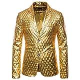 Tuta da Uomo Metallizzata Lucida Glitterata Slim Fit Costume da Discoteca Partito Top da Uomo Danza Discoteca Cosplay Moda Top XL