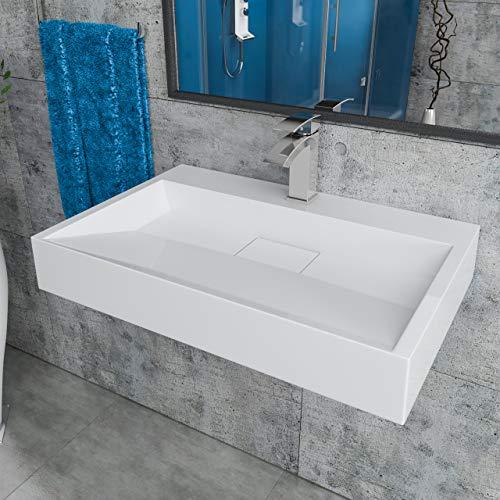 Design Mineralgusswaschtisch Waschbecken Aufsatzwaschtisch Aufsatzwaschbecken aus Mineralguss wandhängend eckig 70x46x11cm CLS19-700