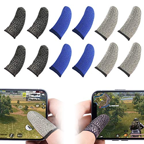 Mobile Game Controllers Finger Sleeve Sets,Anti-Sweat Breathable Soft Full Touch Screen Thumb Sleeves Sensitive Shoot and Aim for PUBG Mobile/Rules of Survival/Knives Out for Android & iOS(12Pack)