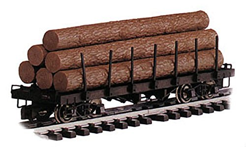 "Bachmann Industries (BACAC) Painted, Unlettered Flat Car with Logs - Large ""G"" Scale Rolling Stock"