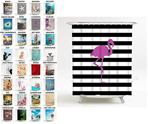 Sanilo Duschvorhang, viele schöne Duschvorhänge zur Auswahl, hochwertige Qualität, inkl. 12 Ringe, wasserdicht, Anti-Schimmel-Effekt (180 x 180 cm, Flamingo)