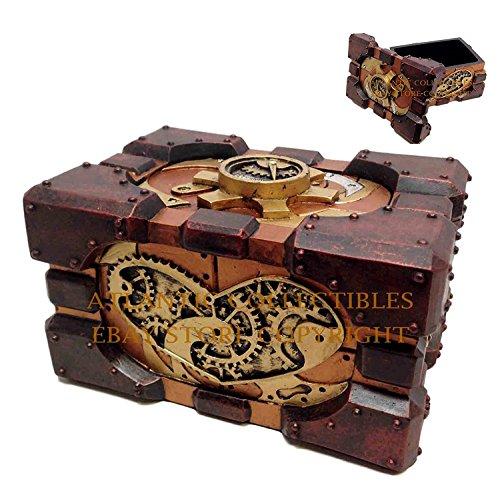 Ebros Steampunk Valentine's Heart Pressure Gauge Box Heart hand Painted Gearwork Jewelry Trinket Keepsake Figurine Home… 2