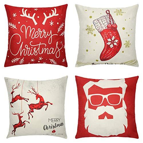 Tensphy Kissenbezüge Weihnachten 4er Set Kissenhülle Winter Rentier Schneeflocke Socke Weihnachtswünsche Leinen Dekokissen Cases 45 x 45cm (Rot)