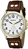 Geneva Men's 2421B-GEN Gold-Tone Watch with Brown Faux Leather Band