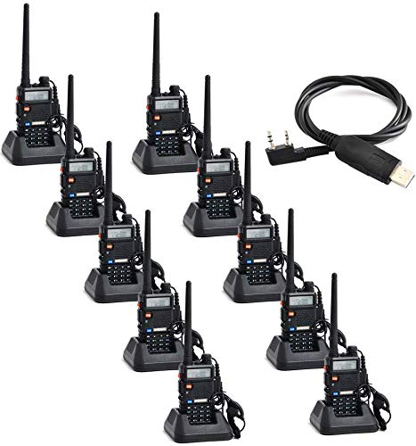 Baofeng 10 Pack UV-5R UHF/VHF 136-174/400-480 MHz Dual-Band CTCSS/DCS FM Transceiver Ham Amateur Radio, 1 Programming Cable