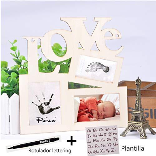 Cuadro bebe recién nacido Regalo huella bebé tinta Habitación bebé 12 meses Baby Shower Marco de fotos [2 productos + 2 GRATIS]