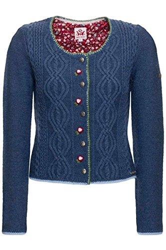 Spieth & Wensky Damen Dirndl-Strickjacke Jeansblau, Jeansblau, M