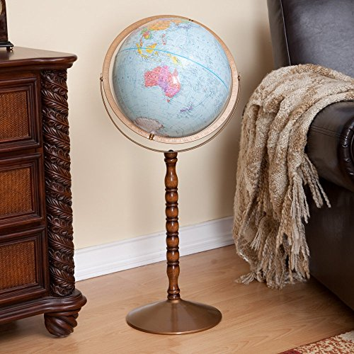 Treasury 12 Inch Blue Floor Globe w Turned Wood Stand