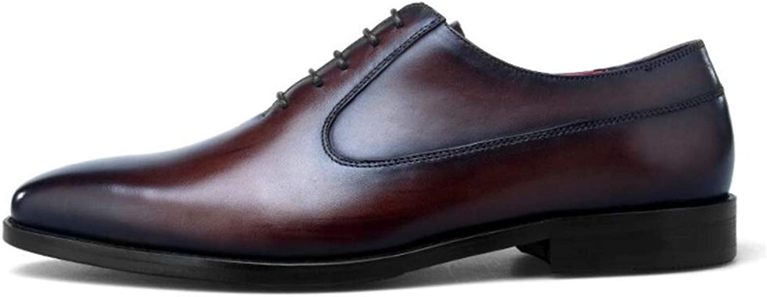 Men's Leather shoes Lace-Up Formal Wedding Business Oxfords Work Dress Party Pointed Toe Flat Red Size 6 7 8 9 10 11