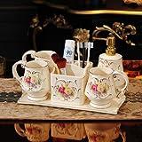 Conjunto de accesorios de baño Cuarto de baño de cerámica Set de accesorios dispensador de jabón y cepillo de dientes titular tazas con jabón bandeja del plato Lavatorio 6 piezas Juego regalos de boda