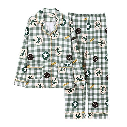 Pyjama Damen Nachthemd Schlafanzug Herbst & Winter Nachtwäsche Damen Baumwollpyjama Für Frauen Lange Karierte Wohnkleidung Pyjama Größe 3XL Grün
