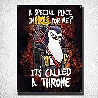 サイコペンギン地獄の特別な場所ブラックヴィンテージブリキ看板