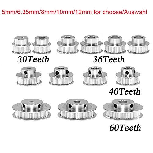 GT2 Aluminium zahnriemenrad Zahnscheibe 30 36 40 60 Zähne Zahnradbohrung 5 mm 6,35 mm 8 mm 10 mm 12 mm Aluminium Zahnrad Zahnbreite Bandbreite 6mm für 3D-Drucker Reprap (40 Zähne Innenloch 12mm)