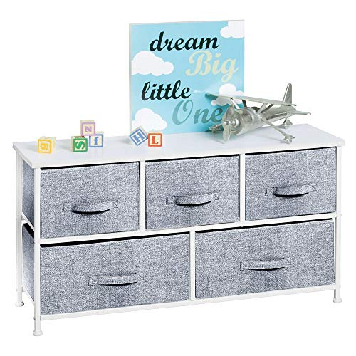 mDesign Extra Wide Dresser Storage Tower - Sturdy Steel Frame, Wood Top, Easy Pull Fabric Bins - Organizer Unit for Child/Kids Bedroom or Nursery - Textured Print - 5 Drawers - White/Navy Blue