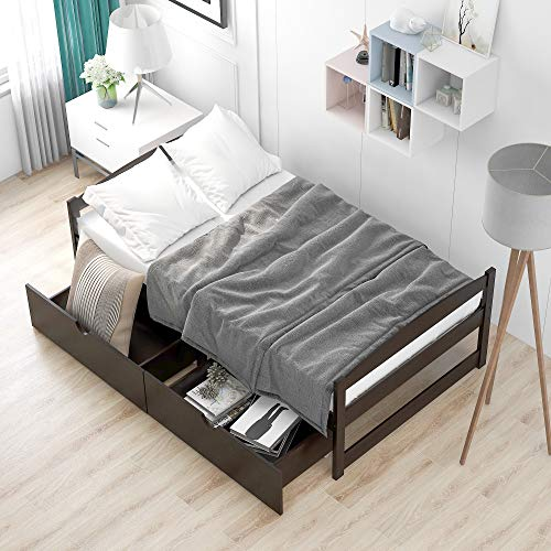 Twin Size Platform Bed with 2 Storage Drawers Platform Bed Frame No Box Spring Needed,Wood Slat Support, Kids Teens Adults Dual-use Sturdy Sofa Bed for Bedroom Living Room (Espresso)