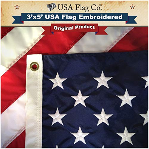 American Flagge von USA Flagge CO. Made in uns, Eingestickte Sterne und Streifen, US-Größe 3 X 5 ft Flaggen, Material: Nylon, Old Glory Blue and Red, Stars and Stripes, 3 by 5 Foot