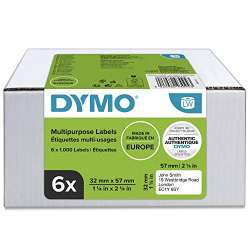 DYMO LW-Mehrzwecketiketten | 32 mm x 57 mm | 6Rollen mit je 1.000leicht ablösbaren Etiketten (6.000Etikettenband) | selbstklebend | für LabelWriter-Beschriftungsgerät | authentisches Produkt