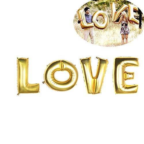 NUOLUX LOVE Luftballons,40 Zoll Folie Ballon für Valentins Tag Hochzeit Decoration(Gold)