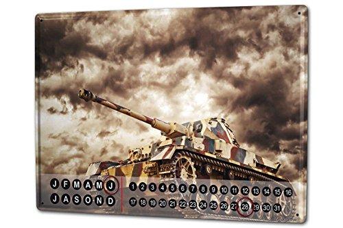 Wandkalender 2019 Jahreskalender Dauerkalender 2020 Kalender 2021 Terminplaner Fotokalender Waffe Panzer Metall Magnet
